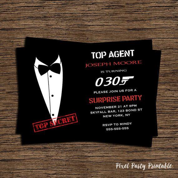 James Bond 007 Birthday Invitation Tuxedo By