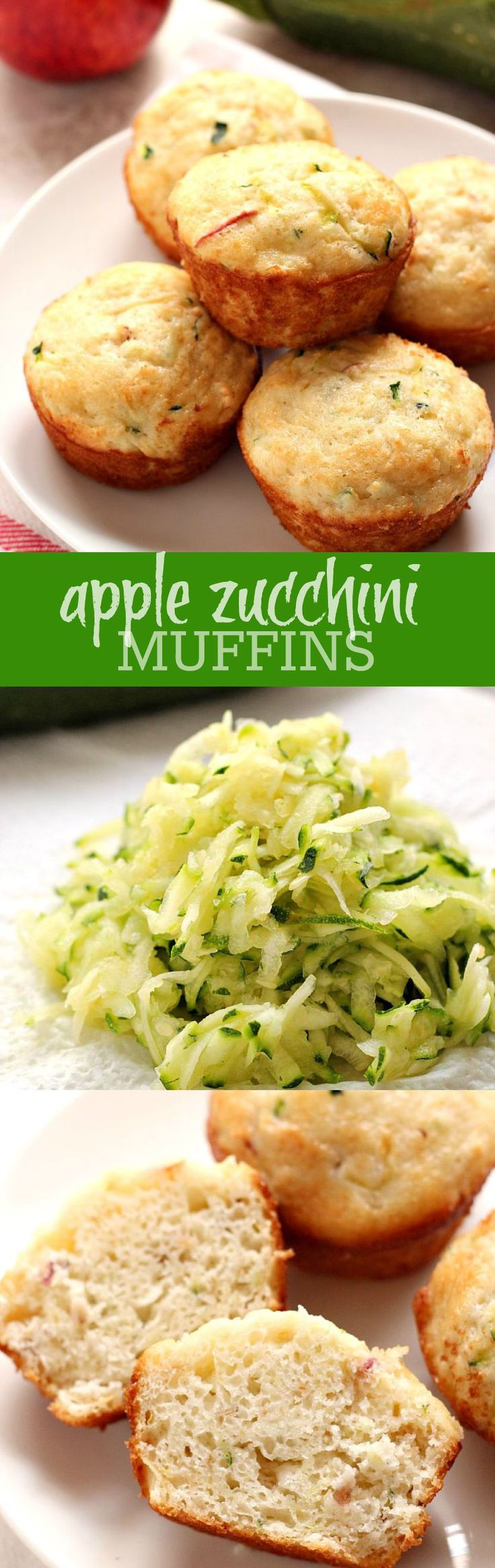 Apple Zucchini Muffins - soft and fluffy muffins with zucchini and apple. Perfect for lunch boxes or as an after-school snack!  | crunchycreamysweet.com