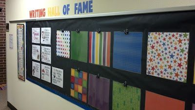 Writing Hall of Fame Love this idea in the hallway! Students would be so excited and motivated to get their work displayed!