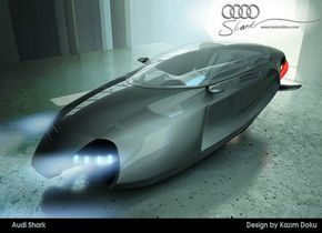 """Este diseño de concepto impresionante de Kazim Doku es un sportscar volador. Significó combinar el chasis de motocicletas con el sleekness de aviones, el tiburón de Audi es la respuesta a nuestros sueños colectivos de la ciencia ficción. Este diseño de concepto premiado es un two-seater que ofrece a sus pasajeros """"sensaciones y niveles fuertes de la seguridad"""".."""