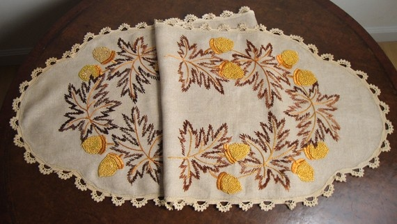Circa 1910 Arts and Crafts Craftsman Embroidered Table Runner with Acorns and Autumn Leaves