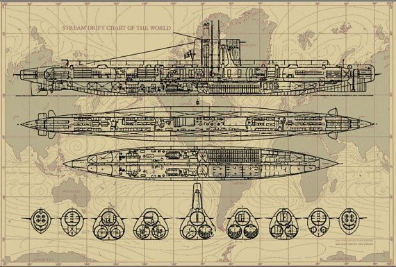 Dive! Dive! This fantastic submarine blueprint drawing of one of the Dolfijn class subs of the Royal Netherland Navy has been submerged with a map of the worlds oceans and currents to create a very unique print that would look great framed on a wall in a study...or given as a gift to a