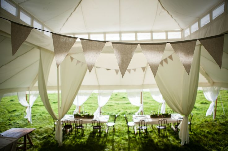 Personalise your event with a gorgeous bunting! Hanging in our Grand 11mx11m www.tentluxuryhire.com.au
