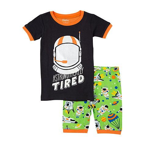 Buy Hatley Boys' Astronaut Print Pyjama Set, Green Online at johnlewis.com