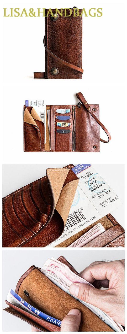 Handmade Men's Fashion Leather Travel Wallet Card Holder Secure Document Organizer MBL02