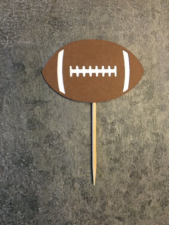 12 Cupcake Toppers, Football Cupcake Picks, Sports Tailgate Football Super Bowl Party, Sports Banquet, Football Potluck, Church Potluck