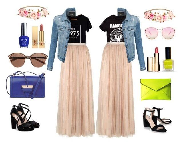 """""""Tender rock"""" by katyvalentine on Polyvore featuring Needle & Thread, LE3NO, Nina, Loewe, Rebecca Minkoff, Witchery, Quay, OPI, Yves Saint Laurent and Clarins"""