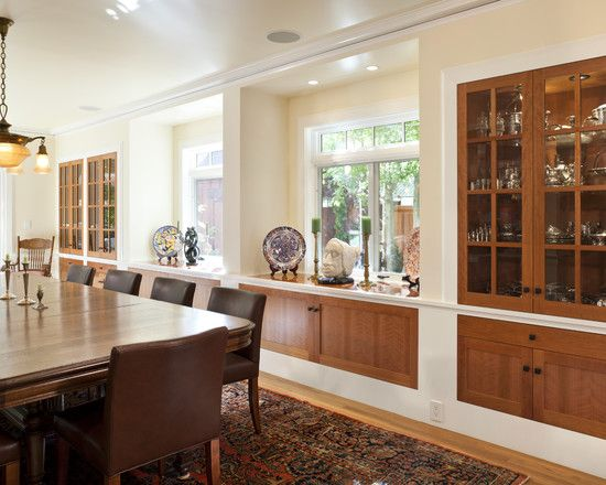 built insTransom Windows, Kitchens Windows, Traditional Dining Rooms, China Cabinets, Built In, Windows Seats, Cabinets Design, Dining Room Design, San Francisco