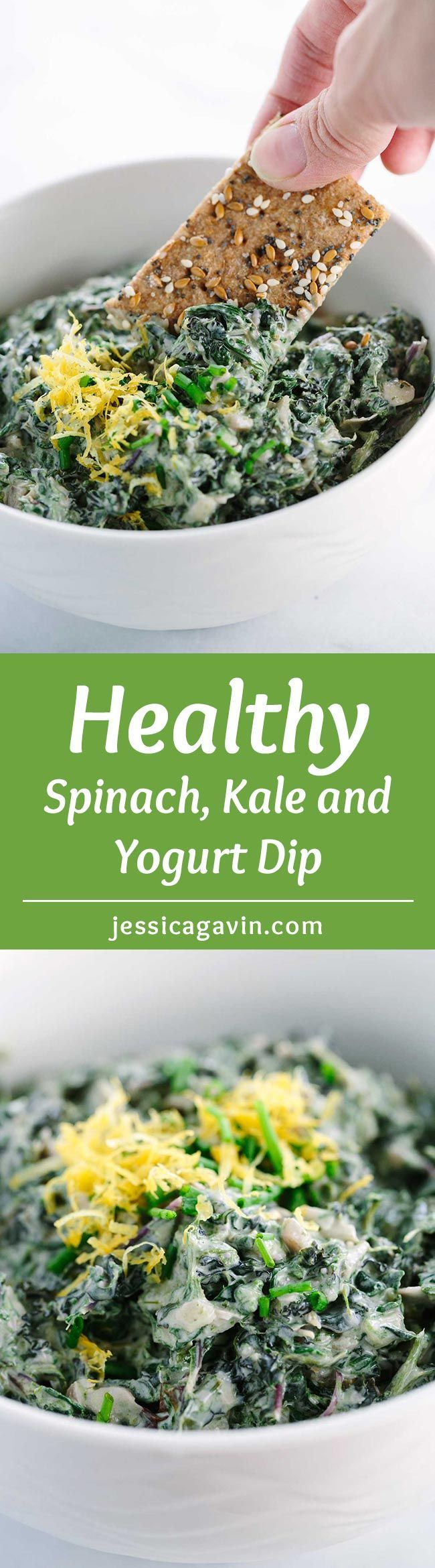 Spinach Kale Yogurt Dip - a healthy snack recipe for any occasion. Homemade whole grain crackers make a perfect crunchy pairing for this warm vegetable dip! | jessicagavin.com