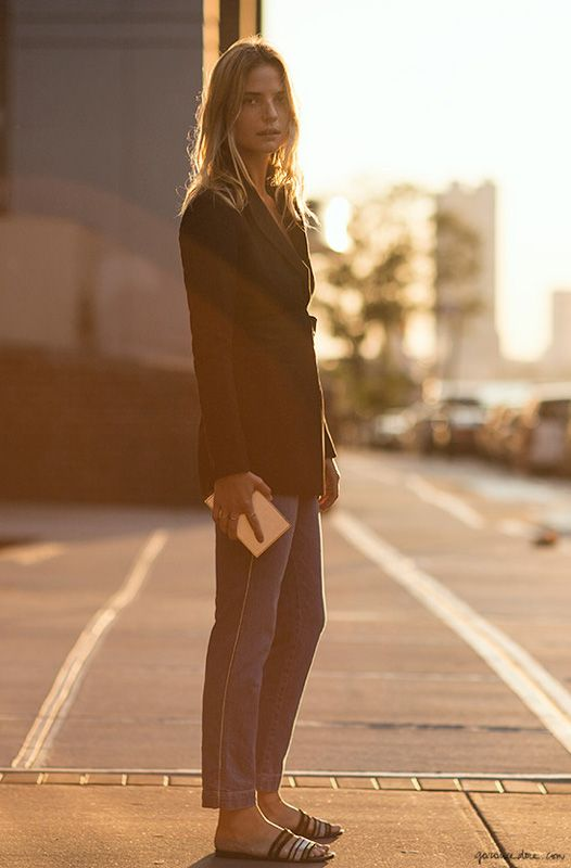 Well Suited, Camilla Deterre, Womens Suit, Casual Chic, Gold Clutch, Blazer, Sandal, Sunlight, Natural Beauty / Garance Doré