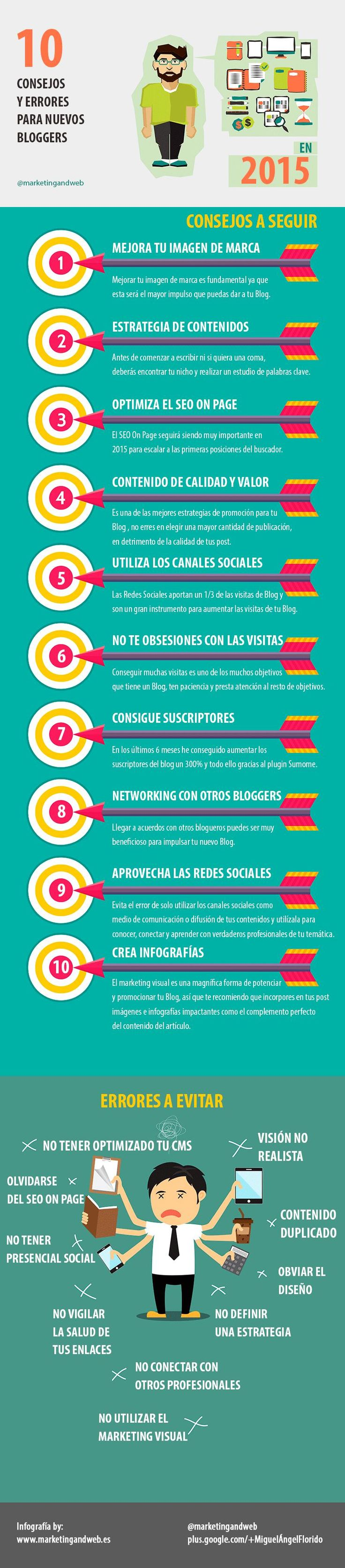 Una infografía con diez consejos para los nuevos bloggers, tienen en cuenta las posibles tendencias de la blogosfera para este nuevo año 2015.