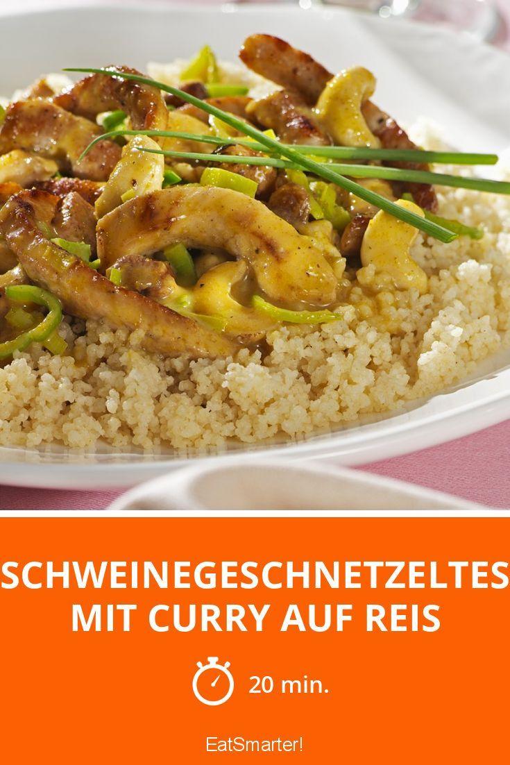 Schweinegeschnetzeltes mit Curry auf Reis - smarter - Zeit: 20 Min. | eatsmarter.de