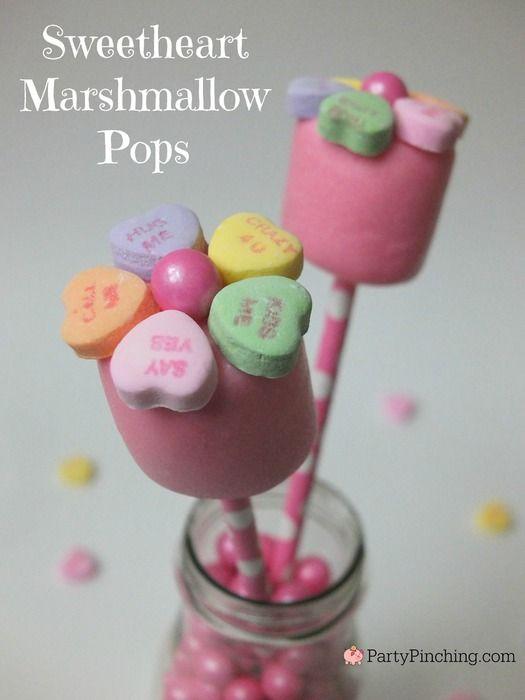 Valentine marshmallow pop, sweetheart conversation candy dessert treat, cute valentines dessert ideas for kids, easy valentines day dessert