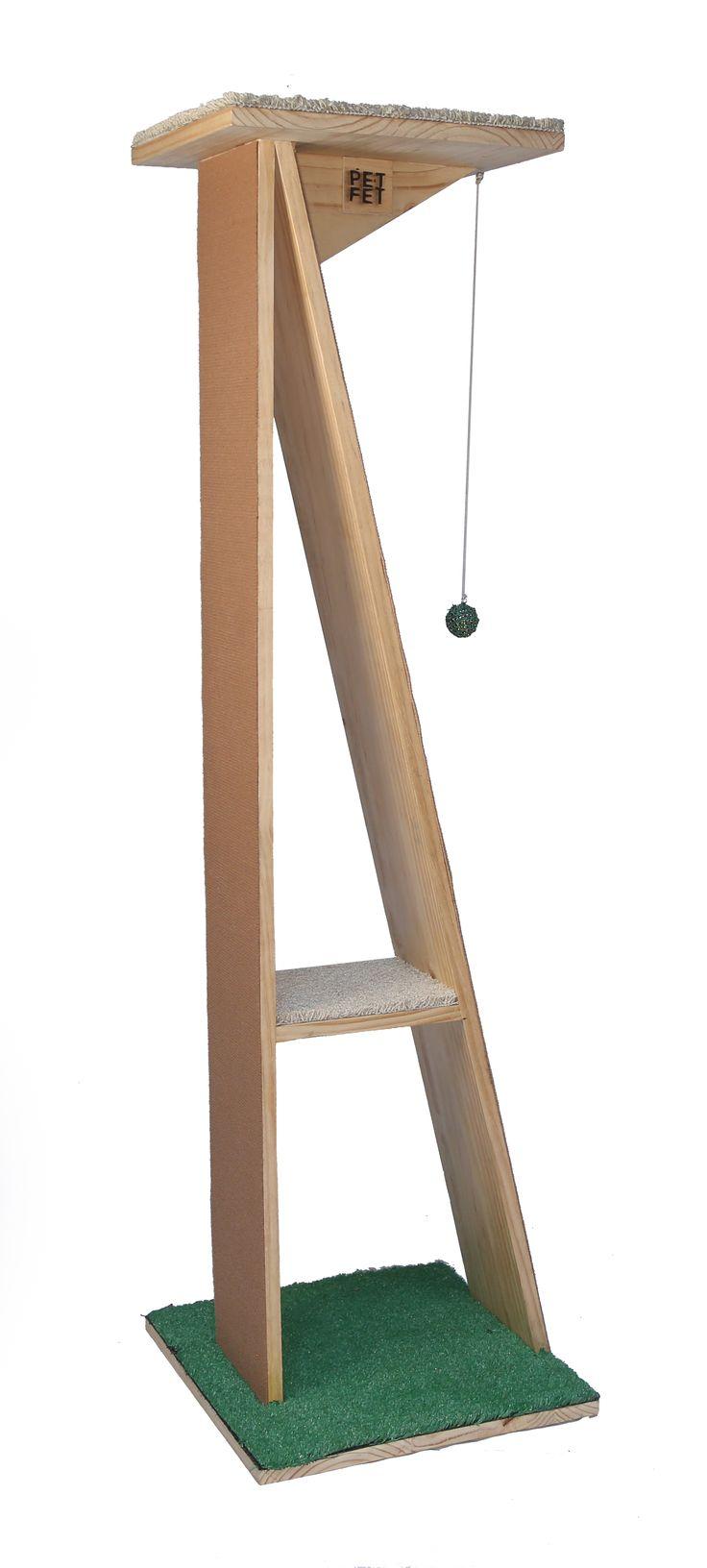 Gimnasio para gatos Este gimnasio hará que tu MIAU tenga su pedestal en el hogar, donde podrá ejercitar, jugar y descansar. Tamaño: Base 50x50 altura 1,50  Petfet