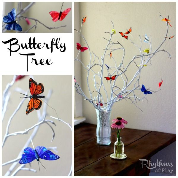 This DIY butterfly tree makes a lovely addition to your home decor or summer nature table. They also make wonderful centerpieces.