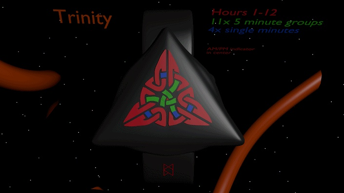 LED watch based on the Celtic Trinity symbol 12 (view full size to see animation)