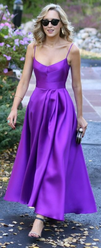purple gown, ankle strap heeled sandals, gold minaudiere + sunglasses {black halo, stella mccartney}