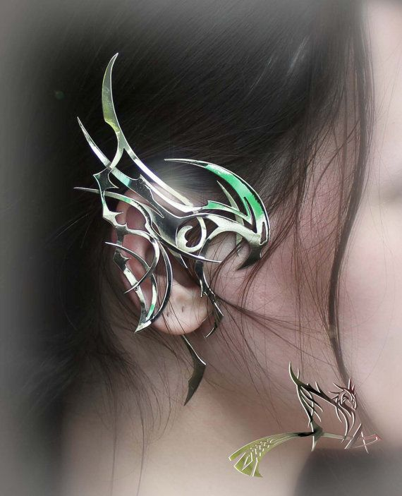 "Dragon Ear Cuff ""Aspects of Storm 2"" - Metal, Silver, gold, jewelry art, dragon, great decoration"