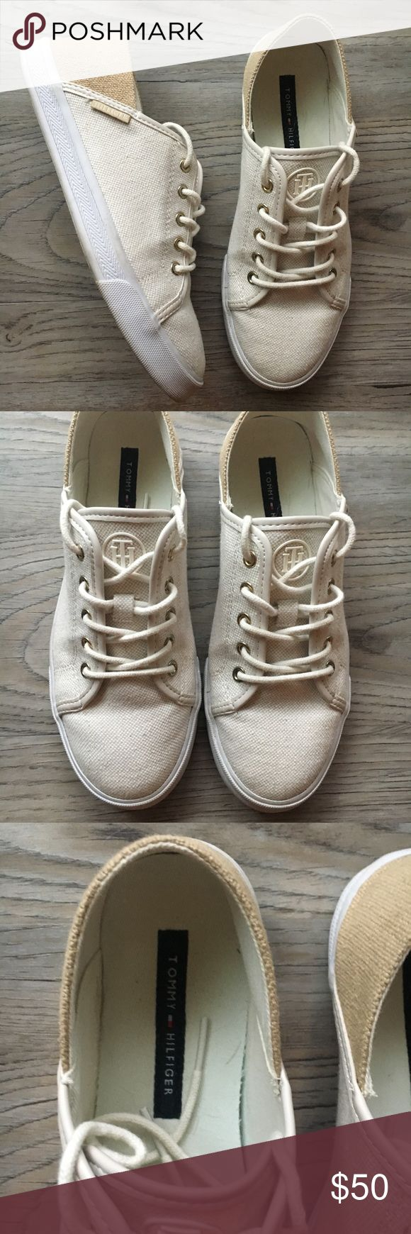 Tommy Hilfiger Khaki and Beige Casual Sneakers Tommy Hilfiger Khaki and Beige Casual Sneakers. Size 7. Like new condition - only worn a couple of times! Please feel free to make offers or ask questions. Tommy Hilfiger Shoes Sneakers