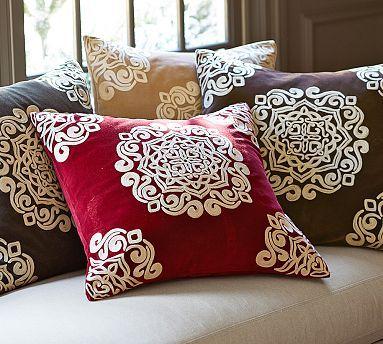 velvet embroidered medallion pillow cover potterybarn sofa
