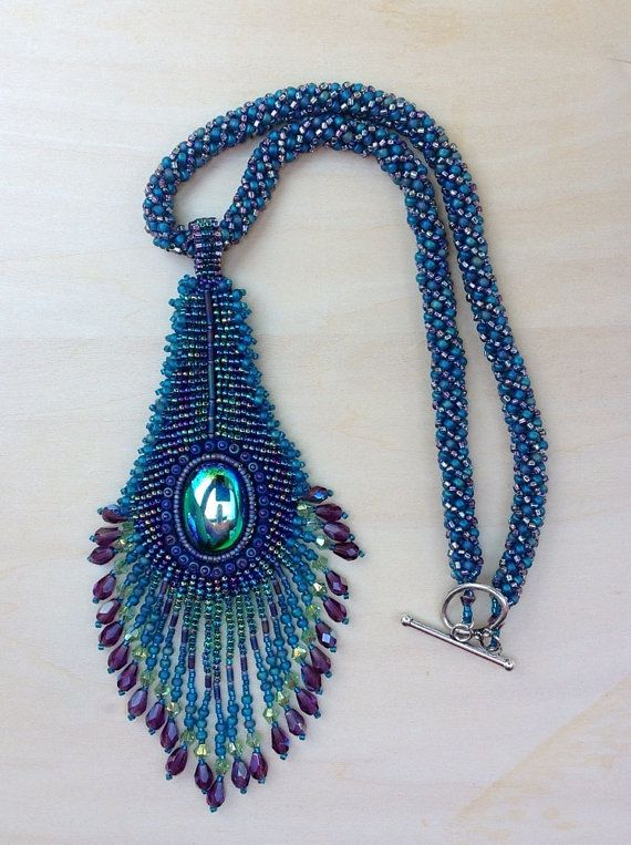 Peacock Feather Bead Embroidery Pendant With Beaded Rope Chain