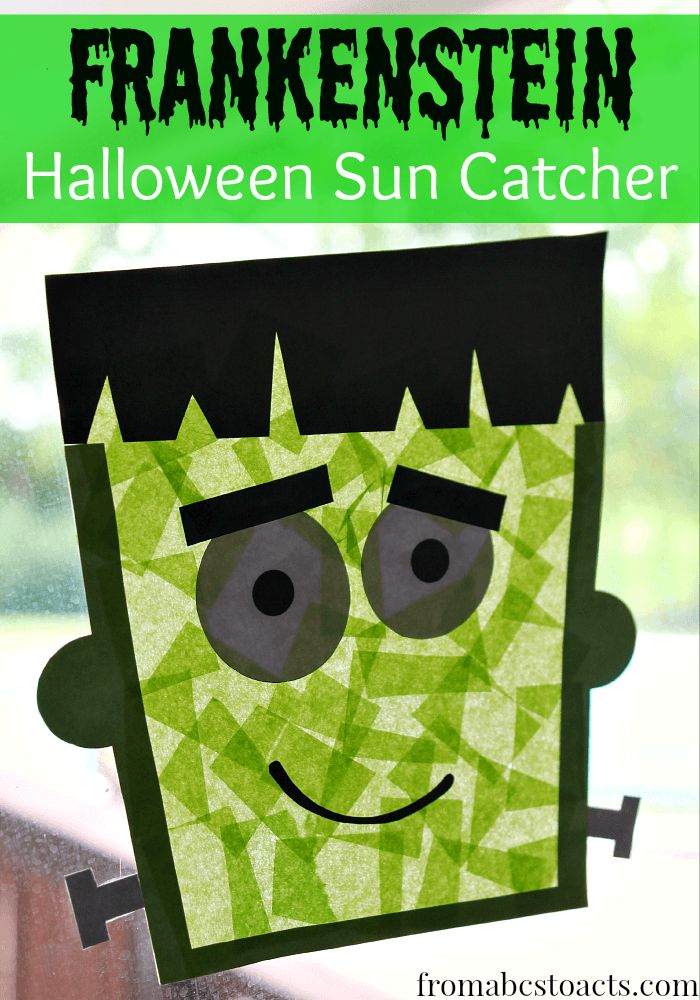 Create a super easy and adorable Frankenstein sun catcher with your kids and decorate your windows for Halloween all on your own! - From ABCs to ACTs