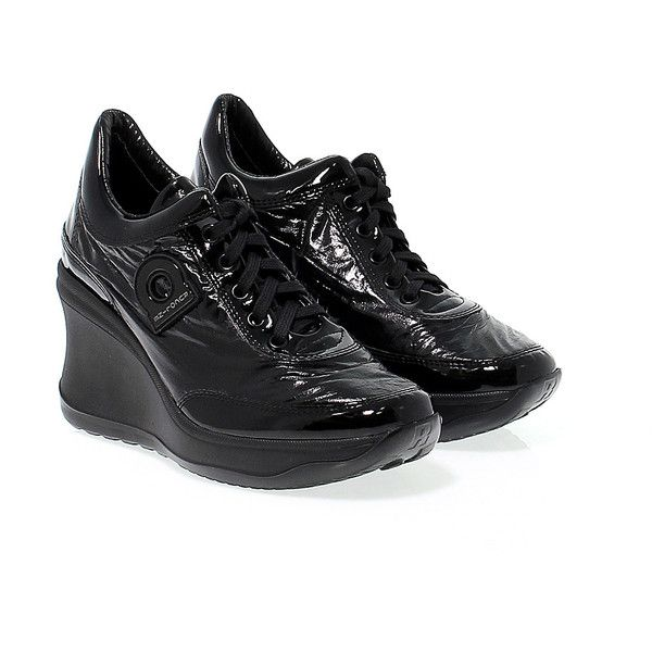 Ruco Line Sneakers (205 AUD) ❤ liked on Polyvore featuring shoes, sneakers, patent leather wedge shoes, wedge trainers, patent leather wedge sneakers, black shoes and wedge sneakers