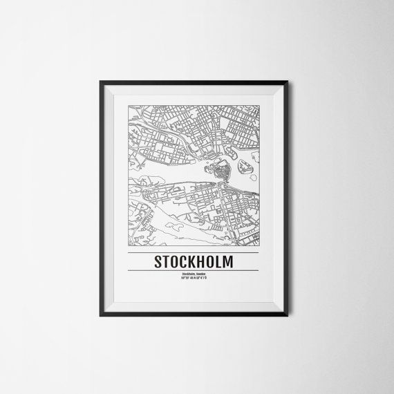 Stockholm city map Sweden Art print A3 by Itchyprints on Etsy