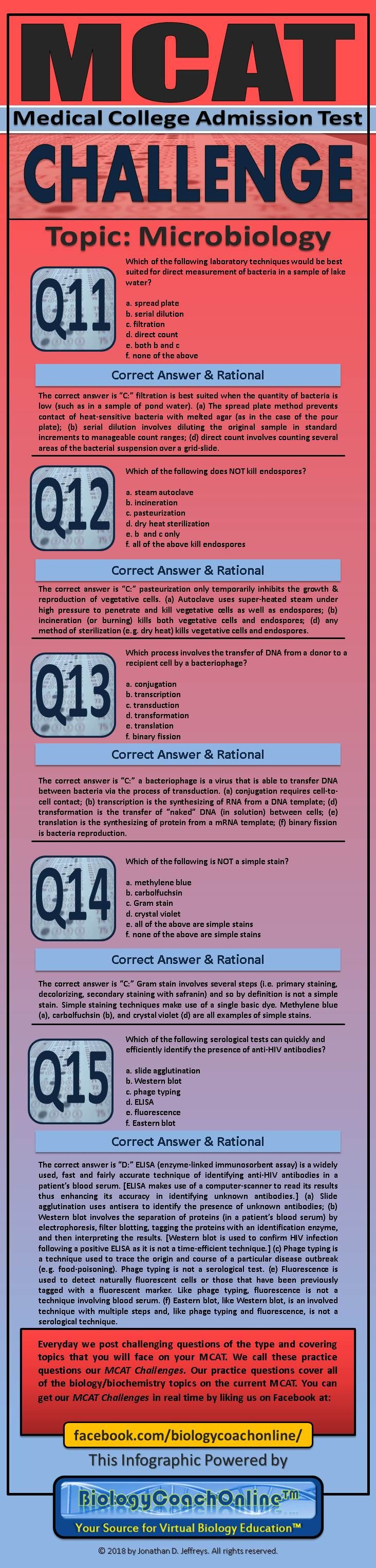 Here are all of this week's #MCAT #Challenge questions together in one #infographic. This week's topic was #Microbiology. Next week's topic: #Biochemistry #premed #medschool #medicalschool #futuredoctor #doctortobe