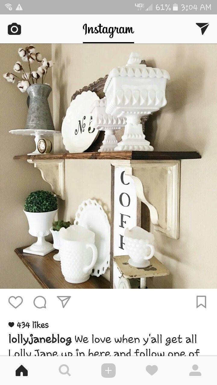 love these farmhouse shelves