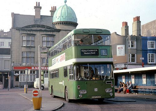 Green double decker bus: outside Brighton Railway Station (1979)
