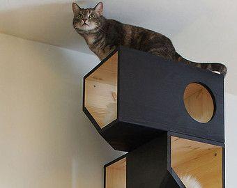 Wooden Modular Cat House от CatissaCatTrees на Etsy