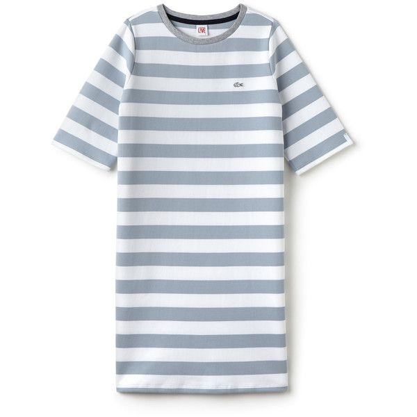 Blue Women's Lacoste Live Striped Cotton T-Shirt Dress (8,455 PHP) ❤ liked on Polyvore featuring dresses, striped dress, blue dress, tee shirt dress, stripe dresses and striped tee dress
