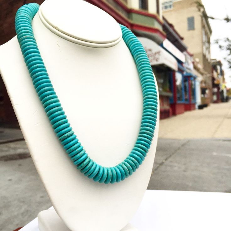 """Turquesa Necklace"" - hand faceted turquoise rondelles and fine Peruvian sterling silver - Handcrafted by Virginia Ugarte - $139"
