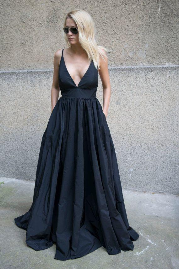 Taffeta Dress/Evening Dress/Long Dress/Straps Dress/Prom Dress /Black Gown/Romantic Dress/Open Back dress/Strappy Dress/Crossed straps/F1617