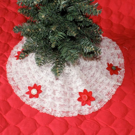 Mini Vintage Lace Buttons Christmas Tree Skirt By PennyDreamz 2000