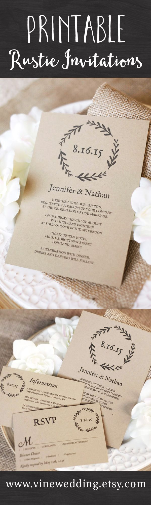 diy photo wedding invitations templates%0A Beautiful rustic wedding invitations  Editable instant download templates  you can print as many as you