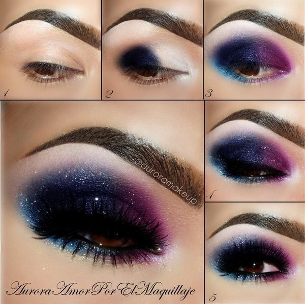 make-up modern smokey eyes galaxie schminken