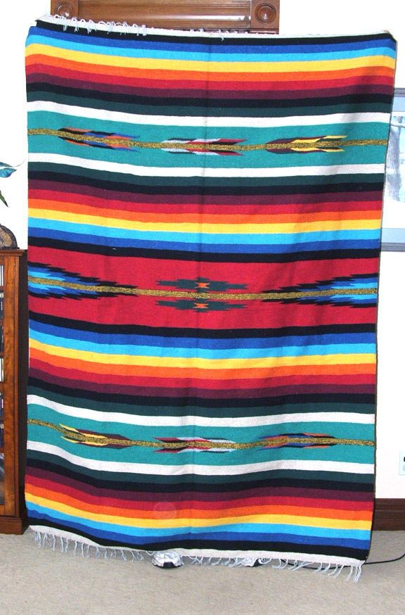 Mexican Blanket Throw Mazatlan Rainbow 5 X7 Durable Seat Cover Bold And Colorful This