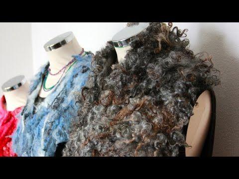 Felting a curly shawl - YouTube
