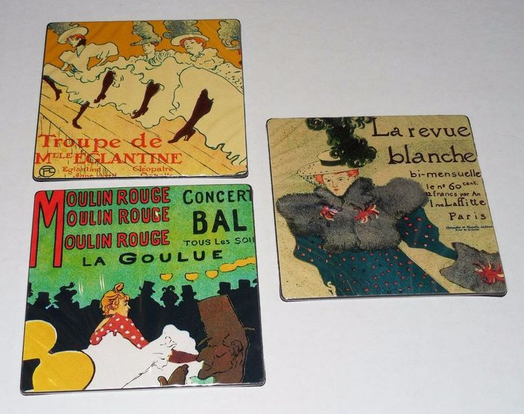 3 Air France Airlines Vinyl Square Coasters Featuring Logo & French Poster Art  #WineCoasters
