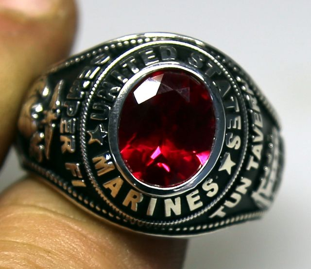Sterling Silver Marine Corps Ring - Made in USA by USMC Veteran owned small business.