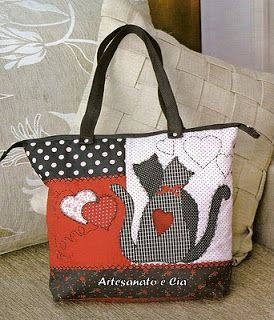 Artesanato e Cia : Bolsa em patchwork com patchcolagem - passo a pass...