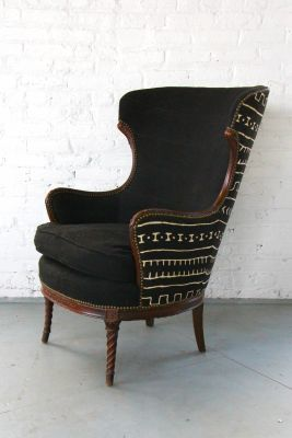 So digging with this vintage wingback we covered in african mudcloth.