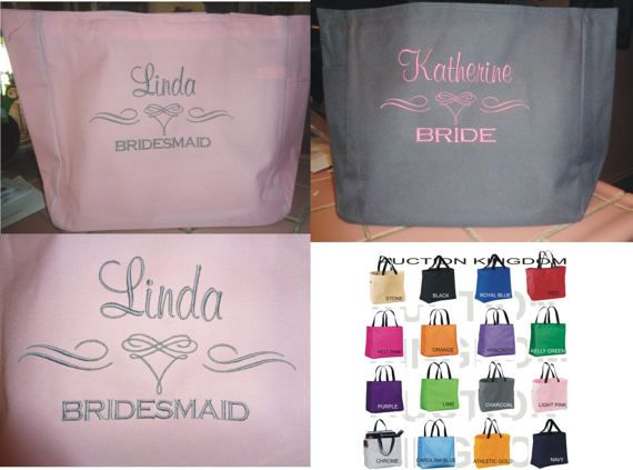 6 Personalized Tote Bag Monogram Bridesmaid Gift by TOTEmebags