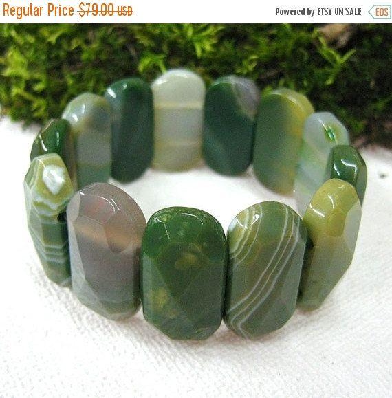 Your BEST GIFT Forest Green Agate bracelet wide bangle gemstone jewelry statement bracelets for women elastic stretch bracelet Nature inspir