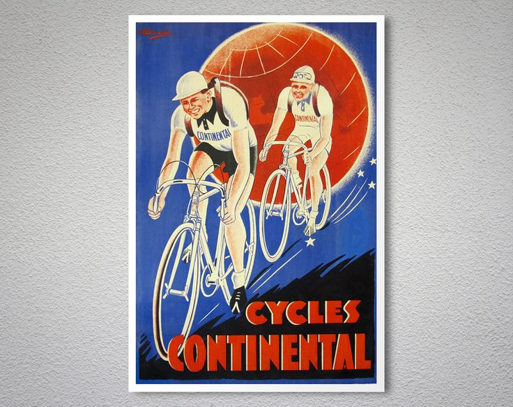 Cycles Continental  Vintage Bicycle Poster, 1930 – Art Print