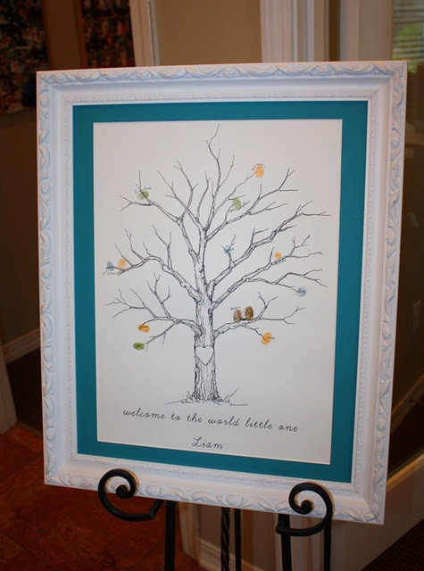 Guest book fun for baby shower or wedding, or anything to celebrate. Each guest puts fingerprint on the tree and makes it an owl.