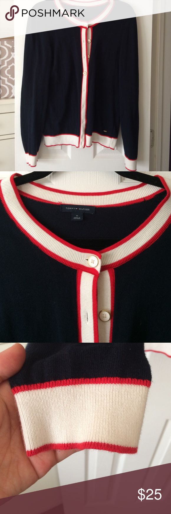 Nautical Cardigan, great for layering Tommy Hilfiger nautical navy cardigan with red and white accent. White and gold buttons. Great for work or play! Tommy Hilfiger Sweaters Cardigans