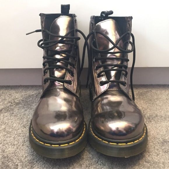 RARE•NEW metallic silver Doc Martens The original Dr. Marten shoes. 100% authentic, comes with box. Absolutely love love love these shoes but they are unfortunately too big on me. Dr. Martens Shoes Combat & Moto Boots
